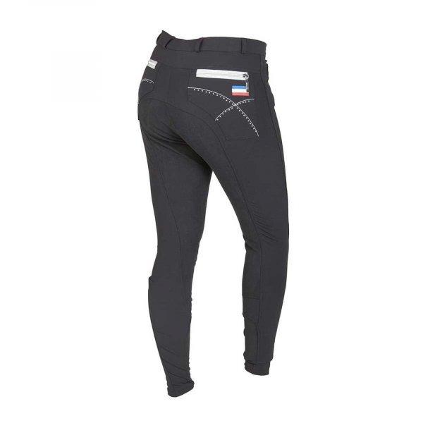 Vollbesatz-Reithose Montar für Damen mit dekorativem Stick und Strassbesatz, Taschen im Jeansstyle, schwarz.2029-4