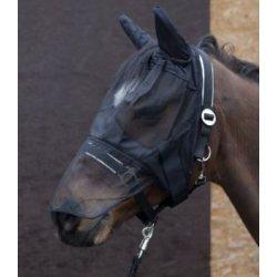 Pfiff Fliegenschutzmaske , Fliegenmasken, schwarz, mit Klettverschluss, zum zum Schutz des Pferdes vor Fliegen und Insekten - strapazierfaehige Ausstattung