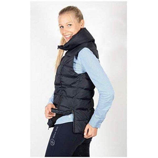 Reitweste Steppweste Anissa von Pfiff für Damen, seitl. Reißverschlüsse für guten Sitz im Sattel, hoher Kragen, Blau-Pink