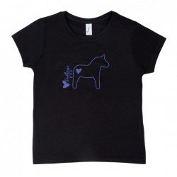 T-Shirt für Kinder mit Rundhals und Frontprint mit Pferdemotiven von Pfiff, schwarz