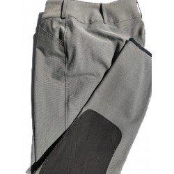 Kniebesatz-Reithose Ciara 4137, Stiefelhose Hüftschnitt, breiter Bund, Doppelknopf, Einschubtaschen, Farbe: Pfeffer und Salz