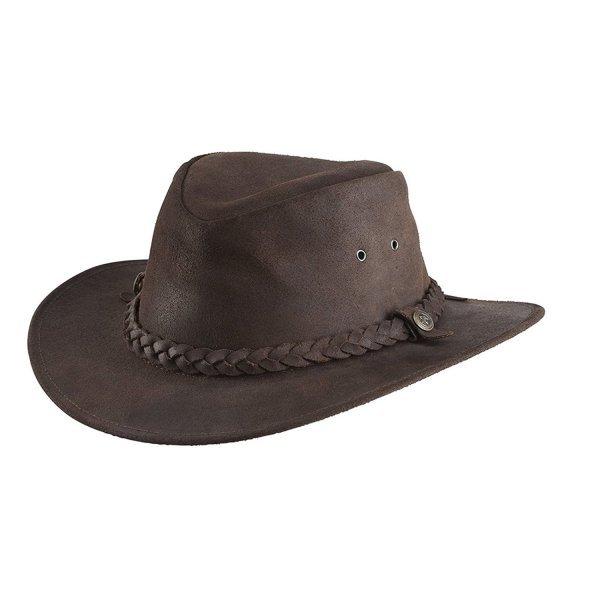 Randols Ranger Hut Havanna robustes Rindsleder geölt, geflochtenes Hutband mit Zierschnalle, Belüftung
