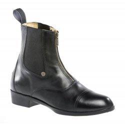 Stiefelette »BOSTON ADVANCED« mit Reißverschluss vorne. Bequeme Boots aus Leder | Robuster Reitschuh mit Gummisohle und Fell | Stiefel Gr. 35-45 Fallen kleiner aus | Farbe: Schwarz