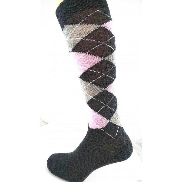 Reitsocken Country Suedwind Equestrian Argyle Design, grau, pink, hellgrau