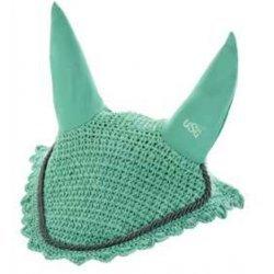 Fliegenhaube Ohrenhaube von USG aus Baumwollgewebe mit elastischem Ohrenschutz, grün, silberfarbige Zierkordel