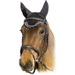 Fliegenhaube von USG Ohrenhaube aus Baumwollgewebe mit elastischem Ohrenschutz, schwarz, ecru, grau, Zierkordel
