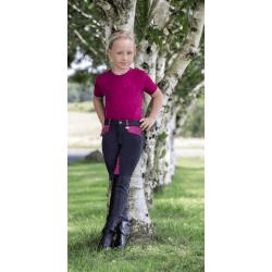 Kinderreithose Jugendreithose Kniebesatz Reithose Mia mit Kontrast-Effekte durch Vollbesatzoptik, Einschubtaschen, atmungsaktiv, marine-pink
