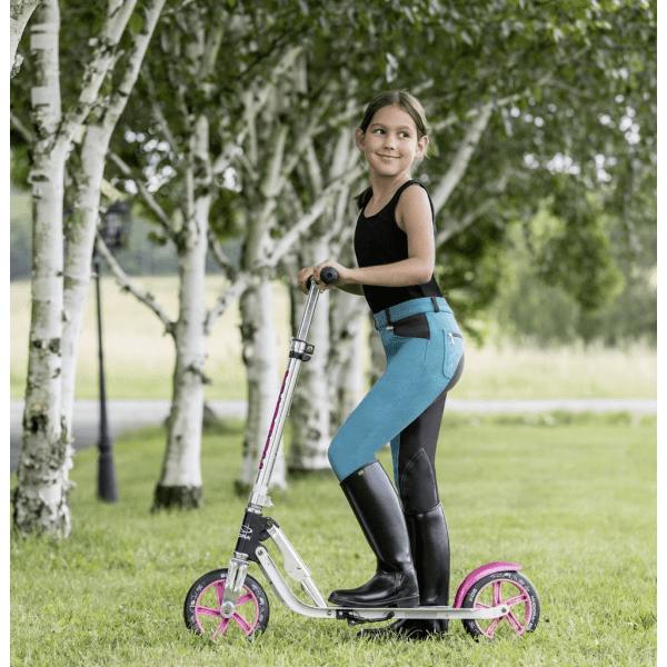 Kinderreithose Jugendreithose Kniebesatz Reithose Mia mit Kontrast-Effekte durch Vollbesatzoptik, Einschubtaschen, atmungsaktiv, meerblau-grau