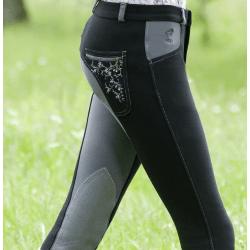 Kinderreithose Jugendreithose Kniebesatz Reithose Mia mit Kontrast-Effekte durch Vollbesatzoptik, Einschubtaschen, schwarz-grau