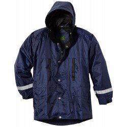 Regenjacke, Regenmantel, wasserdicht, eingelegte Kapuze, Druckknöpfe, größenverstellbar, marine