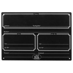 Boxenschild Kunststoff, Breite 29,5 cm, Höhe 20 cm schwarz mit weißem Aufdruck mit Kreide oder Lackstift beschriftbar